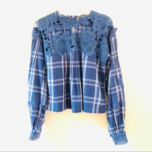 NWT Free People Darling Diana Flannel Lace Top XS